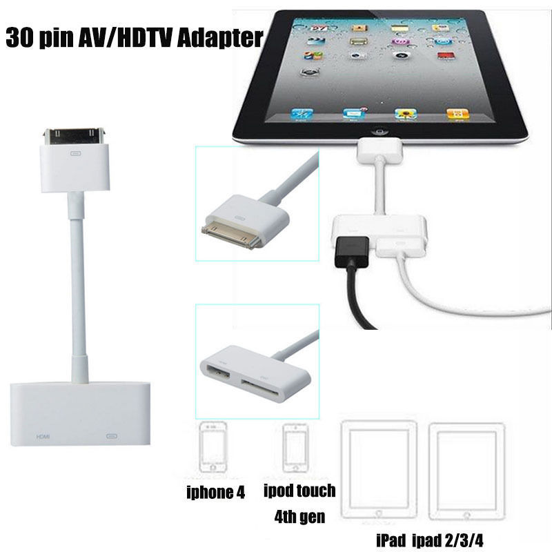 Hot USB HDM HDTV To Dock <font><b>30</b></font> <font><b>Pin</b></font> TV <font><b>Adapter</b></font> Converter Cable for IPad 1 2 3 for IPhone 4 4s image