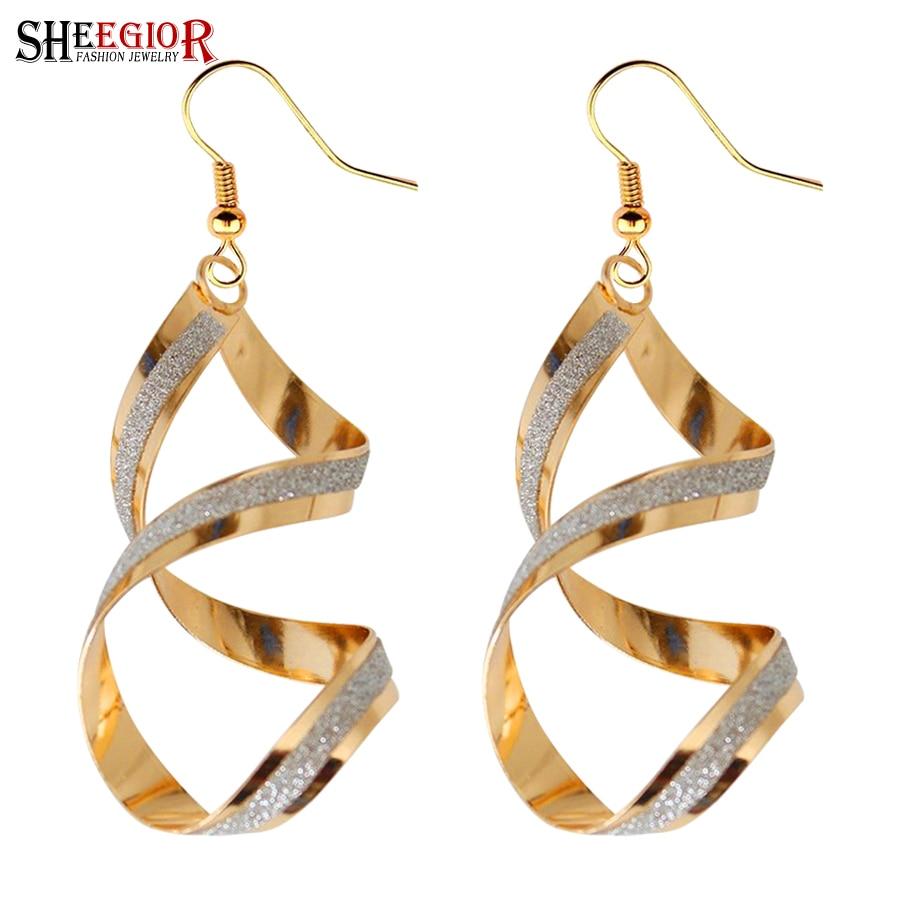 Jednoduché rotace viset dlouhé náušnice pro ženy příslušenství krásné zlato stříbro velké rotující kapka náušnice módní šperky