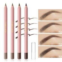 4 lápis de sobrancelha de madeira natural de cor impermeável e à prova de suor de longa duração fácil de usar cosméticos de sobrancelha de maquiagem marrom preto