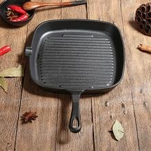 Чугунная сковорода для стейка пищевая газовая, индукционная плита кухонная посуда