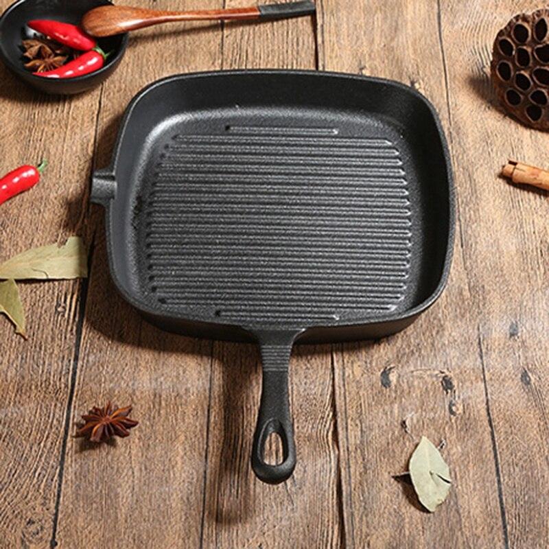 Cast Iron Steak Frying Pan Food Meals Gas Induction Cooker Cooking Pot Kitchen Cookware