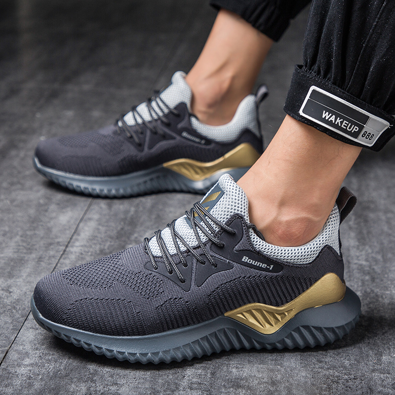 Summer Casual Men'S Sneakers Flying Weaving Mesh Men Shoes Breathable Air Cushion Outdoor Fashion Footwear Sneakers For Men