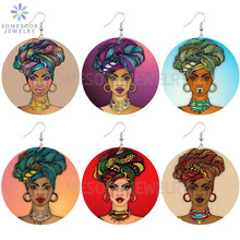 SOMESOOR 6 Designs Printed Hoops Lady African Wooden Drop Earrings Headwrap Woman Locs Afrocentric Ethnic Handmade Wood Jewelry