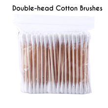 100pcs/lot Disposable Double Head Cotton Swab Makeup Buds Medical Wood Stickers Nose Ear Cleaning Tools Applicator