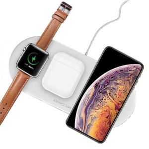 Image 1 - 3 In 1 Wireless Charger For Airpords Apple Watch Series 2 3 4 Wireless Charging Pad For iPhone XR 11 Pro XS MAX 8 Phone Charger