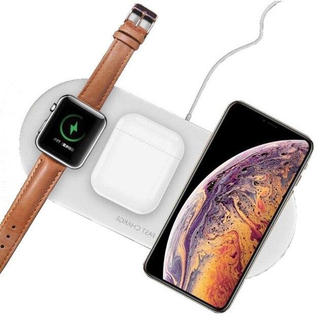3 Trong 1 Bộ Sạc Không Dây Cho Airpords Dòng Đồng Hồ Apple 2 3 4 Sạc Không Dây Miếng Lót Cho iPhone XR 11 pro XS MAX 8 Sạc Điện Thoại