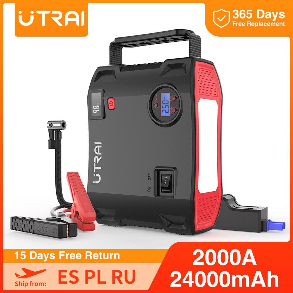 UTRAI – pompe 4 en 1 avec démarreur d'appoint, compresseur d'air 2000a, 24000mAh, 12V, gonfleur de pneus numérique, psi, batterie d'urgence