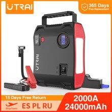 UTRAI Starthilfe 4 in 1 Pumpe Luft Kompressor 2000A 24000mAh Power Bank 12V Digitale Reifen Inflator 150PSI notfall Batterie Boost