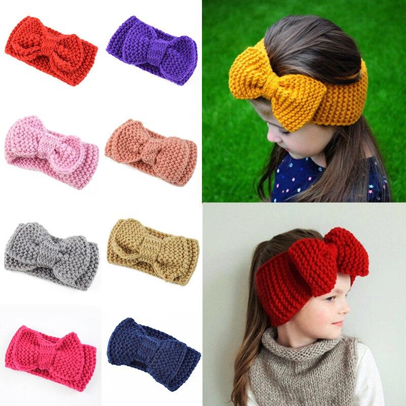 Bonito dos miúdos recém-nascidos bandana orelha mais quente grande bowknot crochê malha hairband cabeça envoltório laços acessórios para o cabelo da criança outono inverno