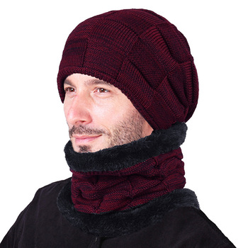 Autumn and winter new wool cap men and women square lattice velvet knitted cap fold cap thicker to keep warm 8