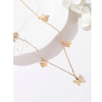 Luxury Temperament Butterfly Pendant Crystal Necklace Female Ins Cold Wind Forest Jewelry lady lovely manufacturers wholesale image