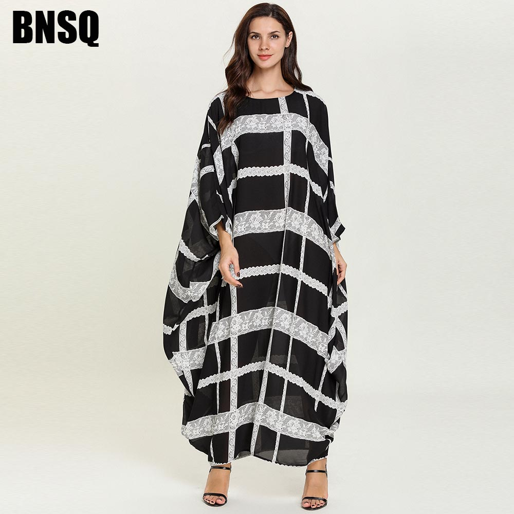 BNSQ Maxi Long Dress Black Brief Elegant Floral Embroidery Muslim Dresses Petal Long Sleeve O Neck Plus Size Women Clothes
