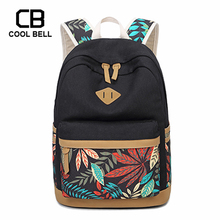 Vintage Leaf Print Canvas School Backpack For Children School Bags For Teenager Girls Child Book Bag Women Laptop Backpack dispalang cute dog computer backpack for teenager animal 3d print laptop school bags for children tourism shoulder book bag