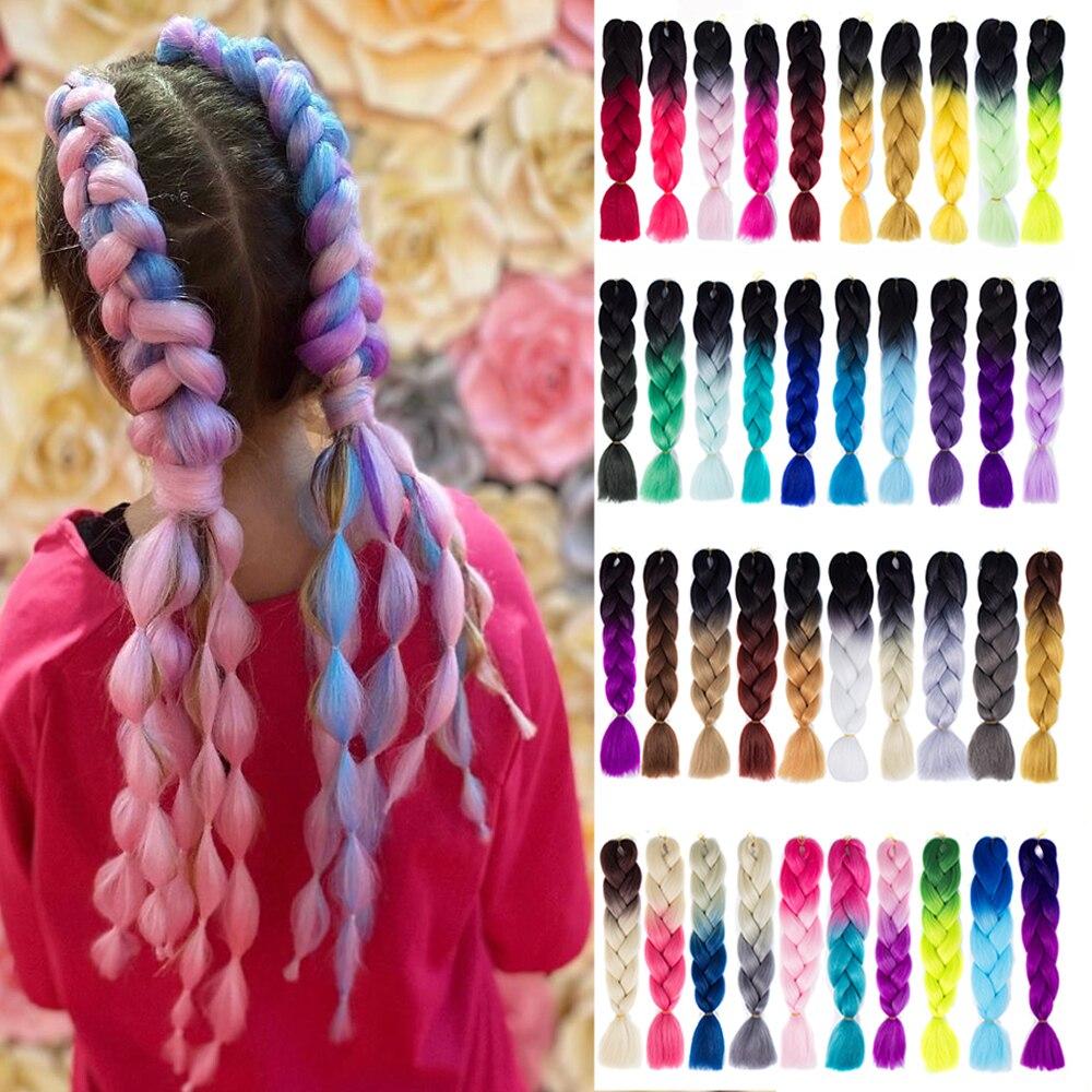 Synthetic Ombre Braiding Hair Extensions Hair 100g/Pack 24 Inches Xpression Jumbo Braid Crochet Hair Braid