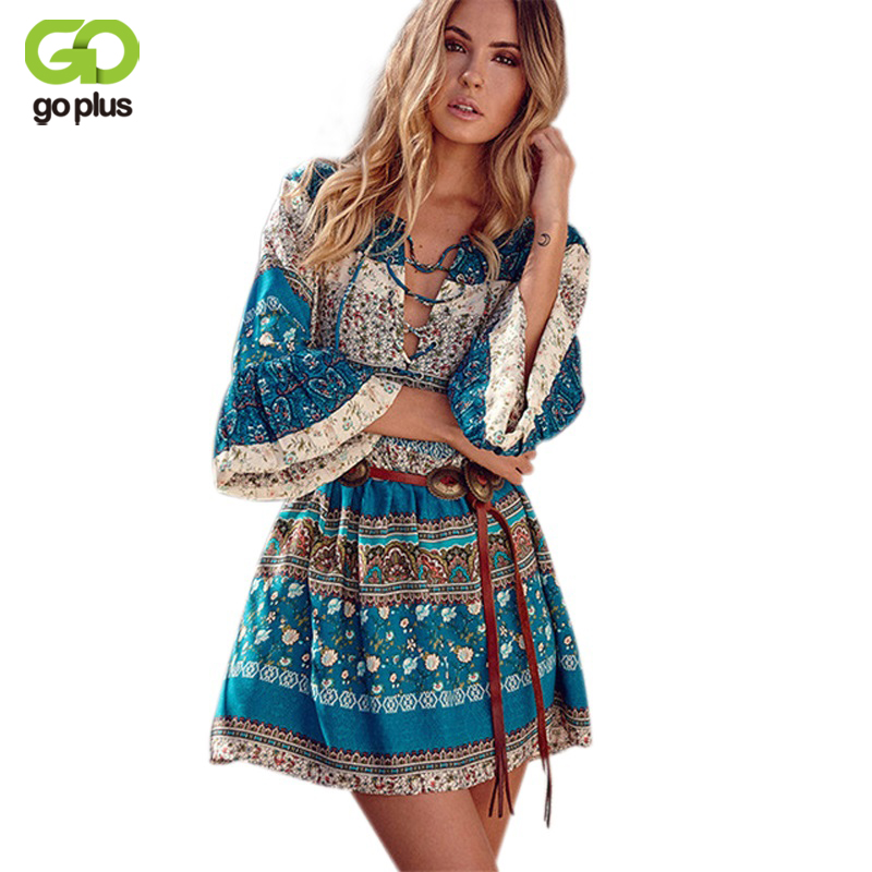 GOPLUS Elegant Floral Printed Dress Women Boho V Neck Sexy Mini Dress Vintage Loose Lace Up Beach Dresses Flare Sleeve Vestidos