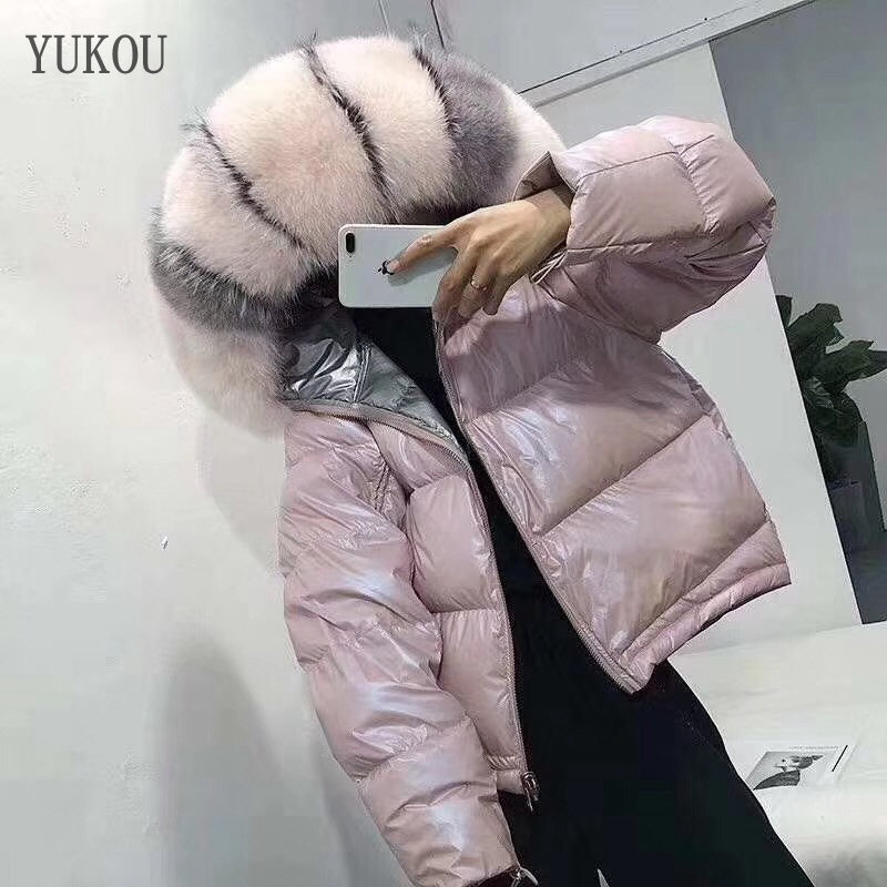 Hot Sellers Women Duck   Down     Coat   2019 Fashion Female High Quality White Duck   Down   Jaket Large Real Fox Fur Collar Windbreak War