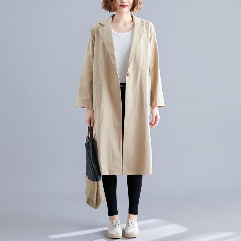 SuerAen Pluz Size Cotton and Linen   Trench   Coat for Women Autumn New 2019 Wild Ladies Windbreaker Solid Color Women Clothing