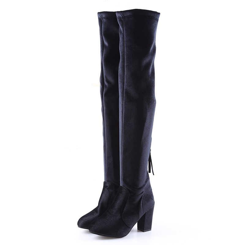 Talons hauts carrés bottes minces femme bottes au genou femme botte moto grande taille cuissardes femme chaussures femme