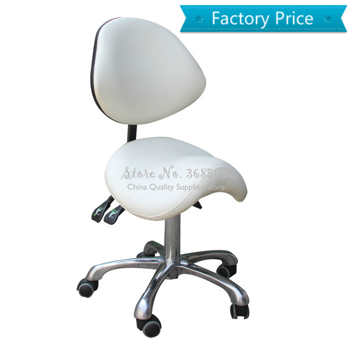 NEW Standard Dental Mobile Chair Saddle Doctor's Stool PU Leather Dentist Chair Spa Rolling Stool With Back Support For Beauty