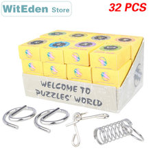 3D Metal Wire Perplexing Puzzles Casse-Tete 32PCS/Sets Classic Knot Intelligence Buckle Interlock IQ Collection Antistress Toys