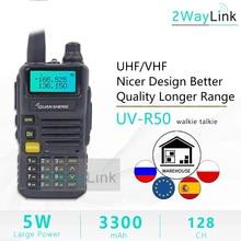 Walkie talkie quansheng UV R50 TG UV2 UV R50 2 uhf vhf, rádio de 5w bidirecional, 3300mah, portátil, quansheng UV R50( 1) ham radio TG UV50R,