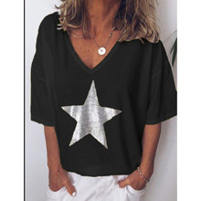 2019 New Fashion T shirt Women Sequins V-Neck Five-pointed star Tops Tees Female Short Sleeve Street Ladies Plus size code S-5XL