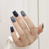 Fake Nails Long Square Head Blue and Gray Smudged Nail Stickers Finished Nail Stickers 24 Pcs With Glue SANA889