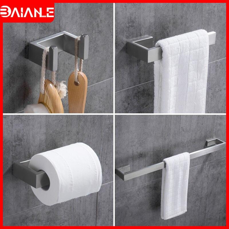 Towel Bar Set Stainless Steel Towel Rack Hanging Holder Towel Ring Wall Mounted Robe Hook Toilet Paper Holder Bathroom Hardware