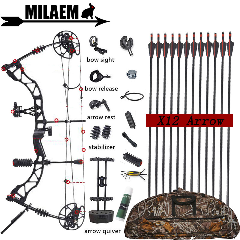 KAIMEI QIN Archery 30-70lbs Compound Bow And Arrow Set Steel Bal IBO329FPS 85% Labor Saving Ratio Shooting Hunting Accessories