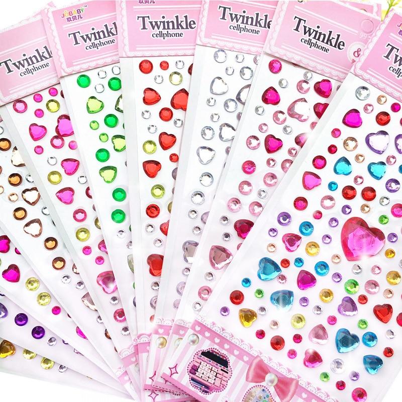 32 styles 3D Gem Stickers diamond Sticker Acrylic Crystal sticker DIY Three-dimensional decoration Rhinestone for kids Girls