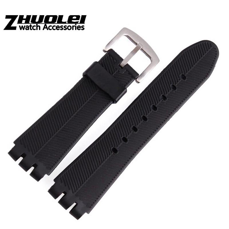 Swatch – bracelet en caoutchouc pour hommes, de haute qualité, noir, souple, étanche, en Silicone, pour la plongée, 23mm, nouvelle collection