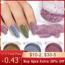 1g camaleão prego glitter pó mergulho holográfico prata rosa ouro shimmer esfregando para unhas chromem pó diy manicure be1028