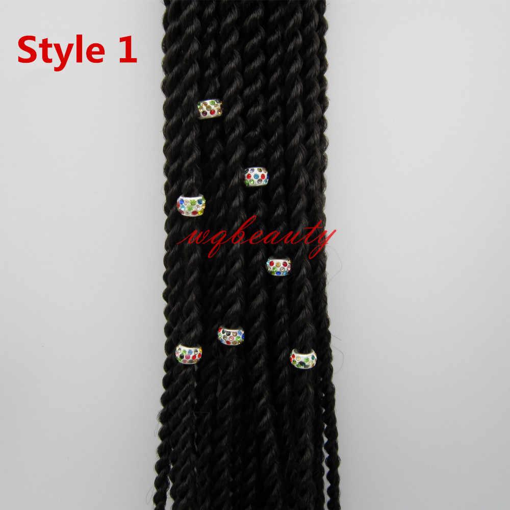 10 шт-20 шт цветные стразы, вязанные крючком косички, волосы, дредлок, бусины, трубчатые кольца, аксессуары для волос, Приблизительно 5 мм, отверстие