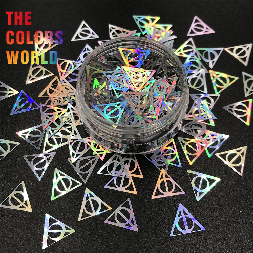 TCT-513 Hollow Triangle 10MM Nails Glitter Nail Art Decoration Hallows Deathly relics of death DIY Accessoires Festival Supplier