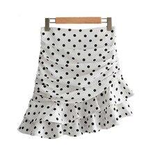 Mini Skirt Pleated High Waist Women Polka Dot White Asymmetrical Mini Skirt Ruffles Back Zipper Irregular Skirts Womens
