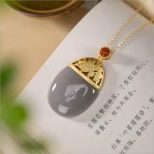 Natural hetian roxo jade oval padrão de lótus pingente colar estilo chinês retro elegante luz luxo nobre prata jóias