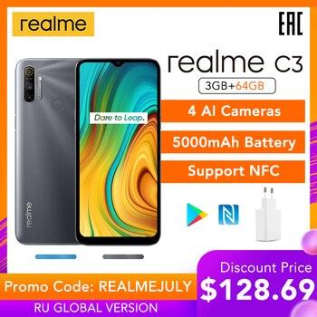 Перейти на Алиэкспресс и купить Realme C3 3 ГБ ОЗУ 64 Гб ПЗУ глобальная версия NFC 5000 мАч аккумулятор Helio G70 AI процессор 12MP AI двойная камера HD + мини-капля полный экран