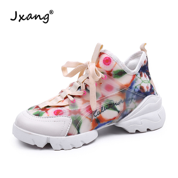 JXANG 2020 FlowerChunky Sneakers Platform Women Multi Color Thick Sole Ladies Female Chunky Shoes Women Casual Platform Sneakers фото