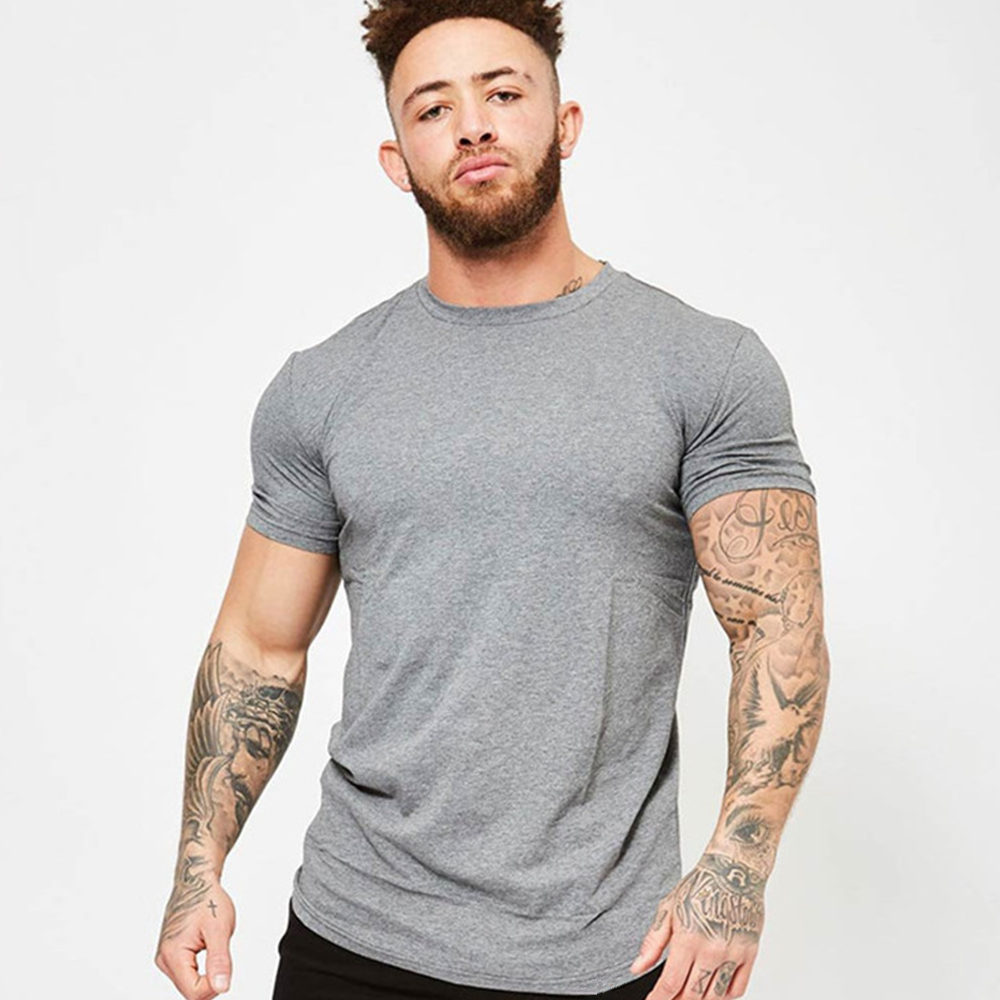 Gym Fitness Tshirt Men Running Sport T-shirt Short Sleeve Cotton Solid Color Tee Shirt Tops Summer Male Jogging Workout Clothing