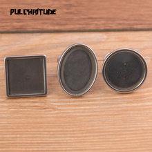 2 pçs 3 estilos de aço inoxidável cor prata cabochão anéis ajustáveis moldura placas diy jóias fazendo acessórios