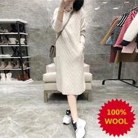 Smpevrg New 100% Wool Knitted Sweater Women Pullover Dress Long Sleeve Hooded Casual Female Pullover Women Sweater Jumper Dress