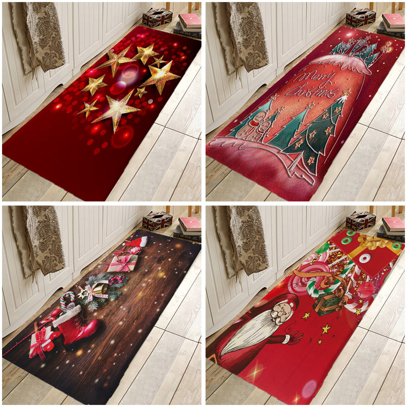 Christmas Carpets And Rugs Christmas Mats For Bedroom Living Room Carpet Kitchen Bathroom Anti-Slip Floor Mats