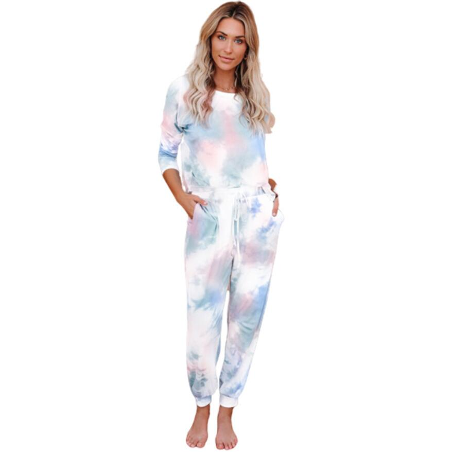 2020 Latest Fashion Stretch Cotton Tie Dye Printing Ladies Suit