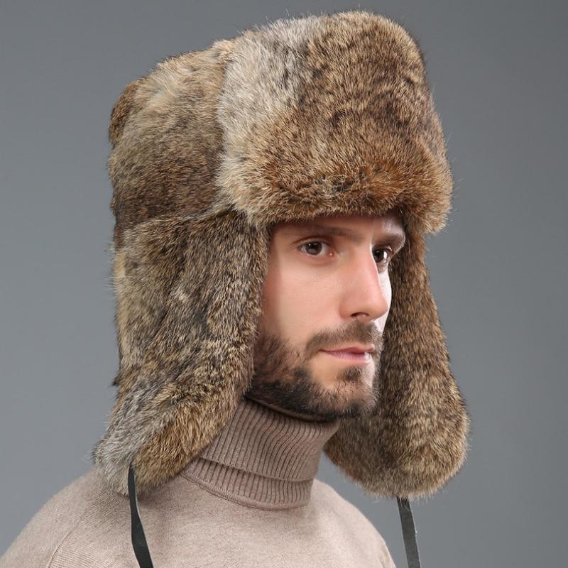 Толстая теплая шапка-ушанка Для мужчин из натурального кроличьего меха, шапки-ушанки для охоты на открытом воздухе русский Кепки мужского р...