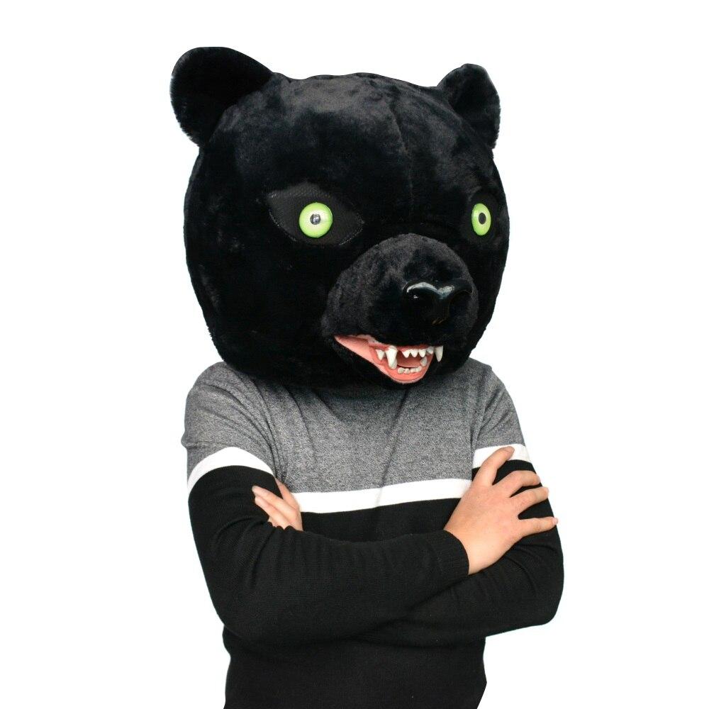 Net Red Black Panther Big Head Black Leopard Halloween Hood Cartoon Mask Black Panther Hair Flyer Doll Black Panther фото