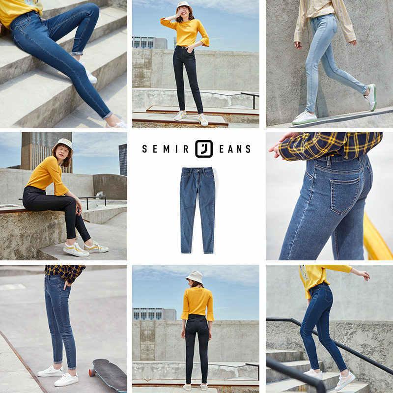 SEMIR Hohe taille jeans frauen 2019 herbst neue damen elastische Koreanische version schlank füße baumwolle hosen dünne bleistift hosen