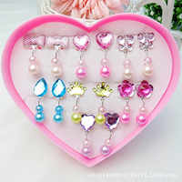 Kids Beauty Toys Cute Crystal Style Earrings Clip on Set for Childrens Dress-up Cosmetic Accessories Girls Princess Cosmetic Toy