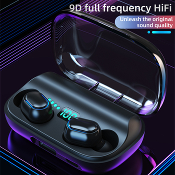 New TWS Bluetooth headset V5.0 wireless headset headset waterproof sports wireless headset earbuds with charging box microphone t50 tws bluetooth headset sports touch wireless earphone 3d stereo microphone wireless earbuds charging box