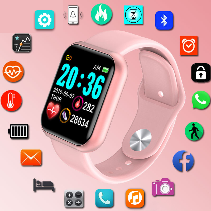 Y68 Waterproof Pink Digital SmartWatch Women Smart Watch Wristbands Digital Clock Monitor HR/BP Rate Electronic Pedometer
