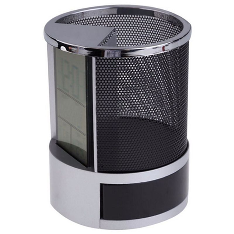 Mesh Pen Pencil Holder With Digital Lcd Office Desk Clock With Time Temp Calendar Function Black